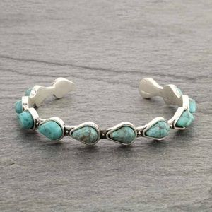 Turquoise Natural Stone C Cuff Bracelet.